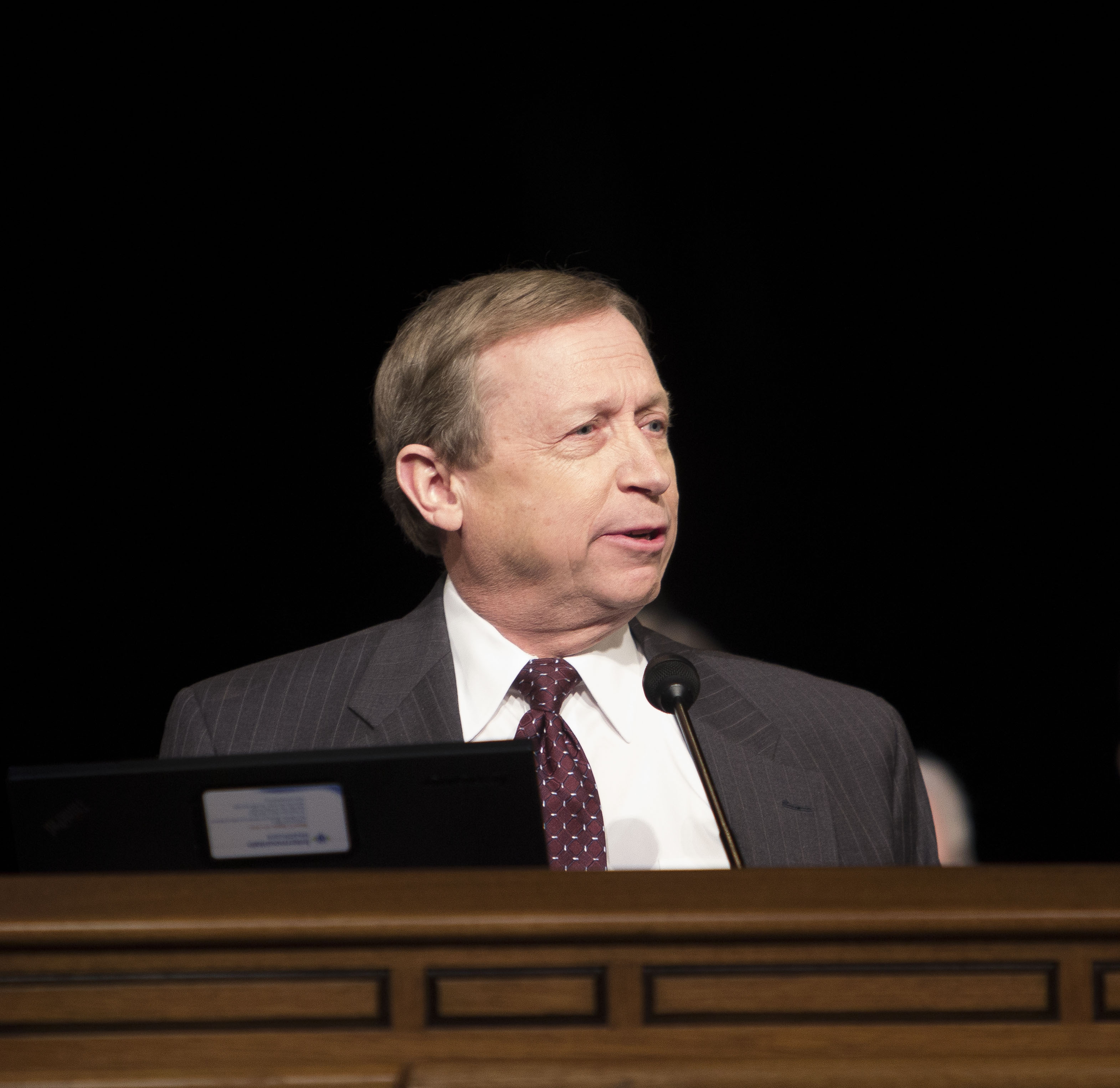 Dr. Brent C. James, the executive director of the Institute for Health Care Delivery Research, IHC, speaks at a BYU forum March 18.