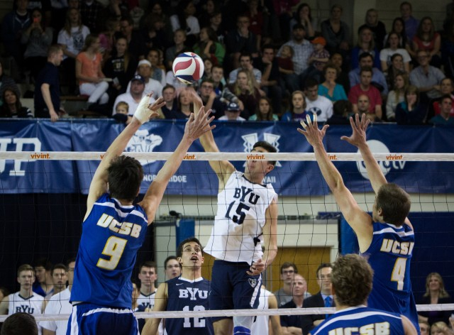 BYU men's volleyball fights its way to a 3-2 win against UCSB