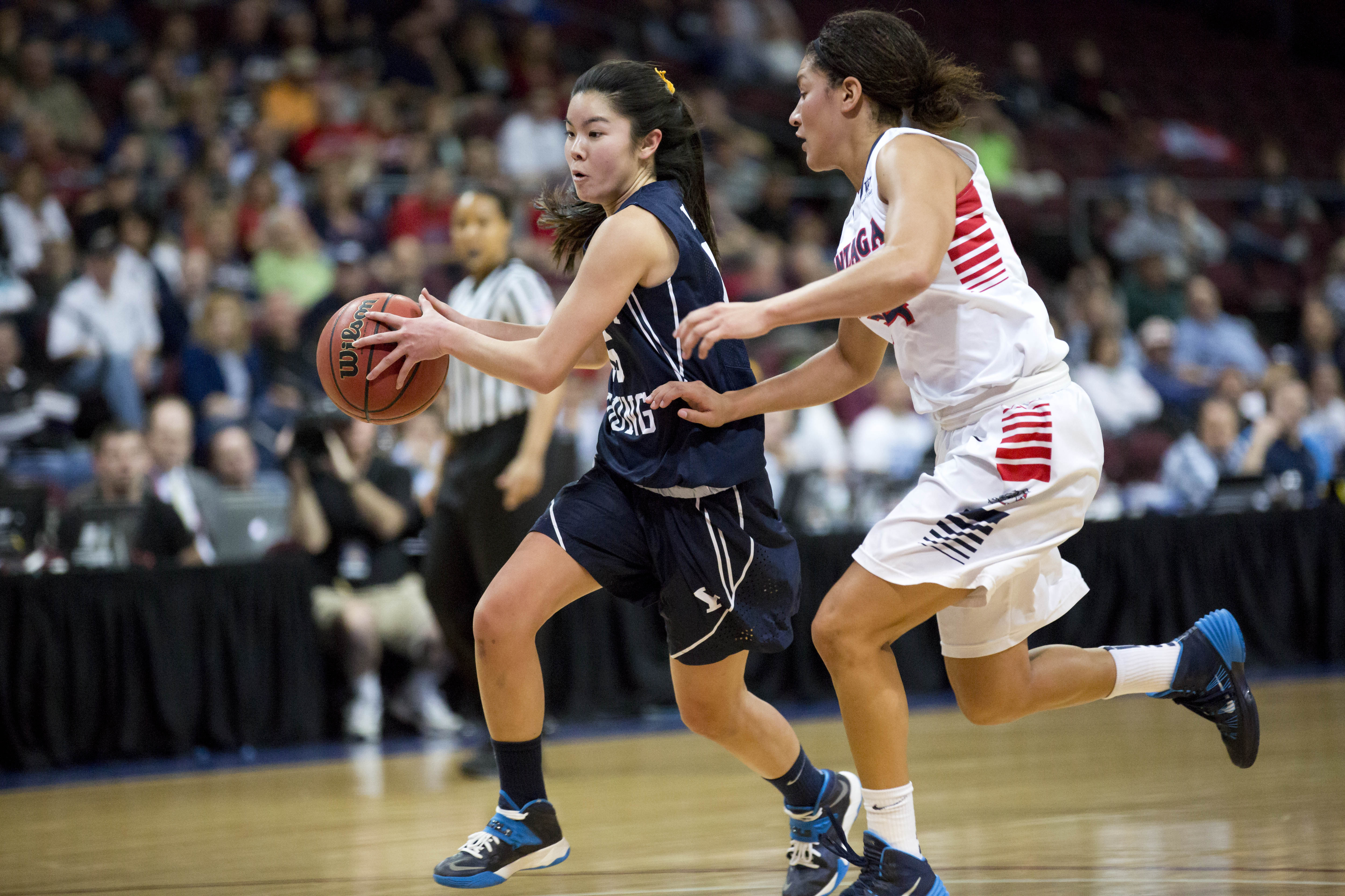 Kylie Maeda dribbles the ball in the WCC Championship game against Gonzaga. Photo by Sarah Hill