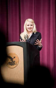 Elizabeth Smart was the keynote speaker at the Civic Engagement Workshop April 2. Photo by Sarah Hill.