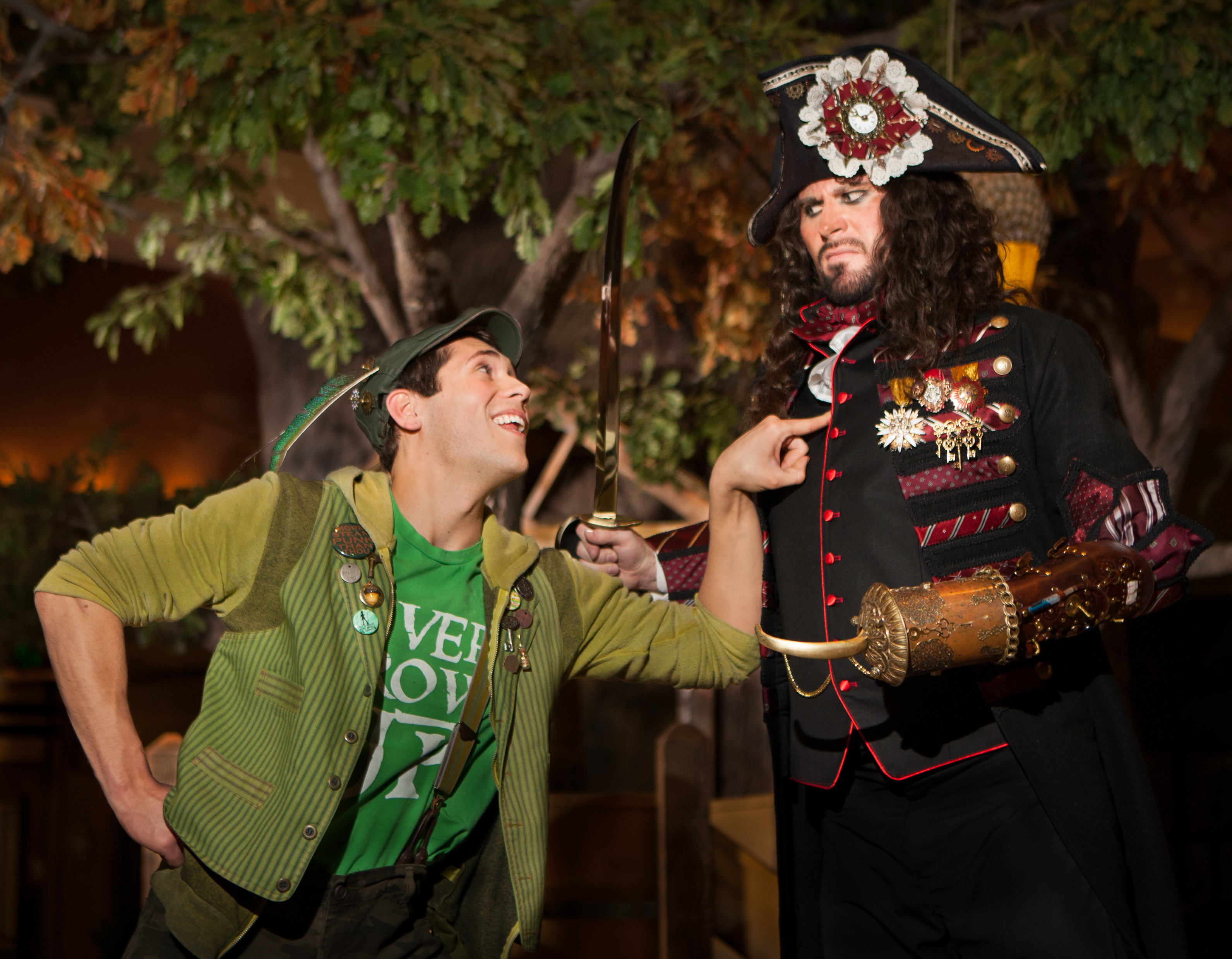 Josh Valdez as Peter Pan and Ben Henderson as Captain Hook face off in Hale Center Theater's production of Peter Pan, which opens April 24. (Photo crourtesy of Pete Widtfeldt.)
