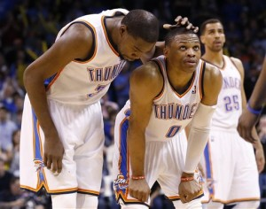 Kevin Durant and Russell Westbrook headline the Oklahoma City Thunder's dreams of an NBA Title. Photo courtesy AP Photo/Sue Ogrocki.