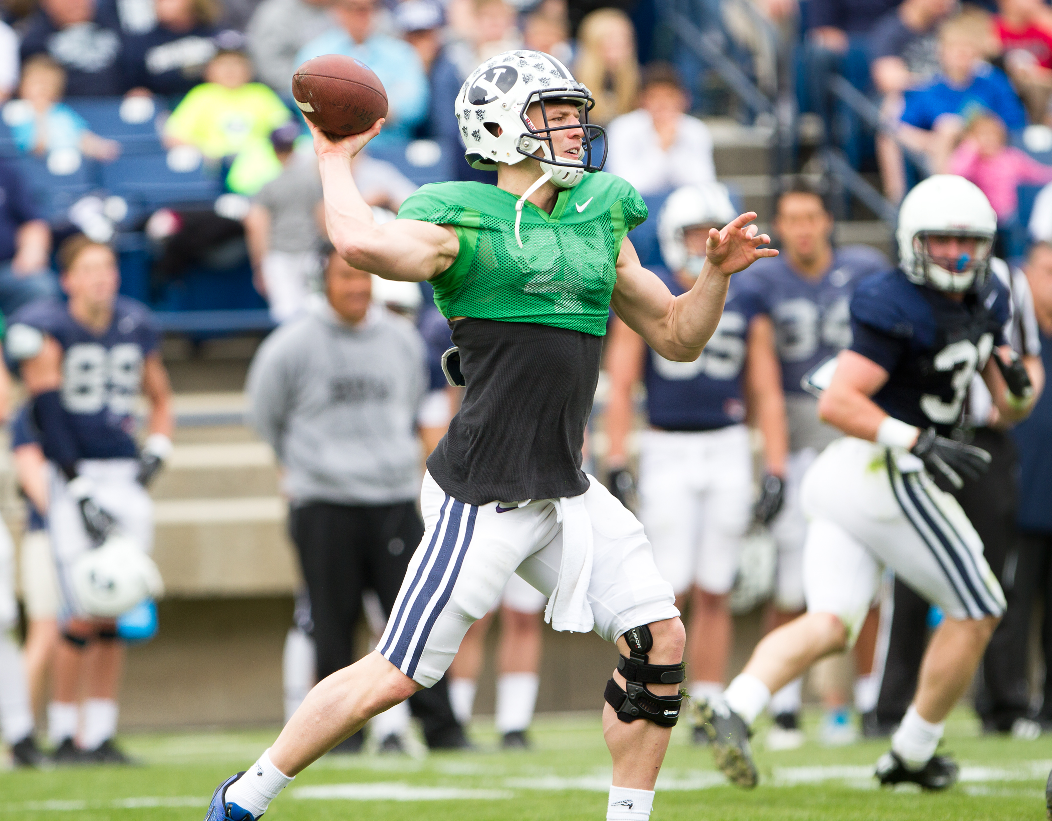 Taysom Hill throws the ball during BYU football's Spring scrimmage at LaVell Edwards Stadium. (Sarah Hill)