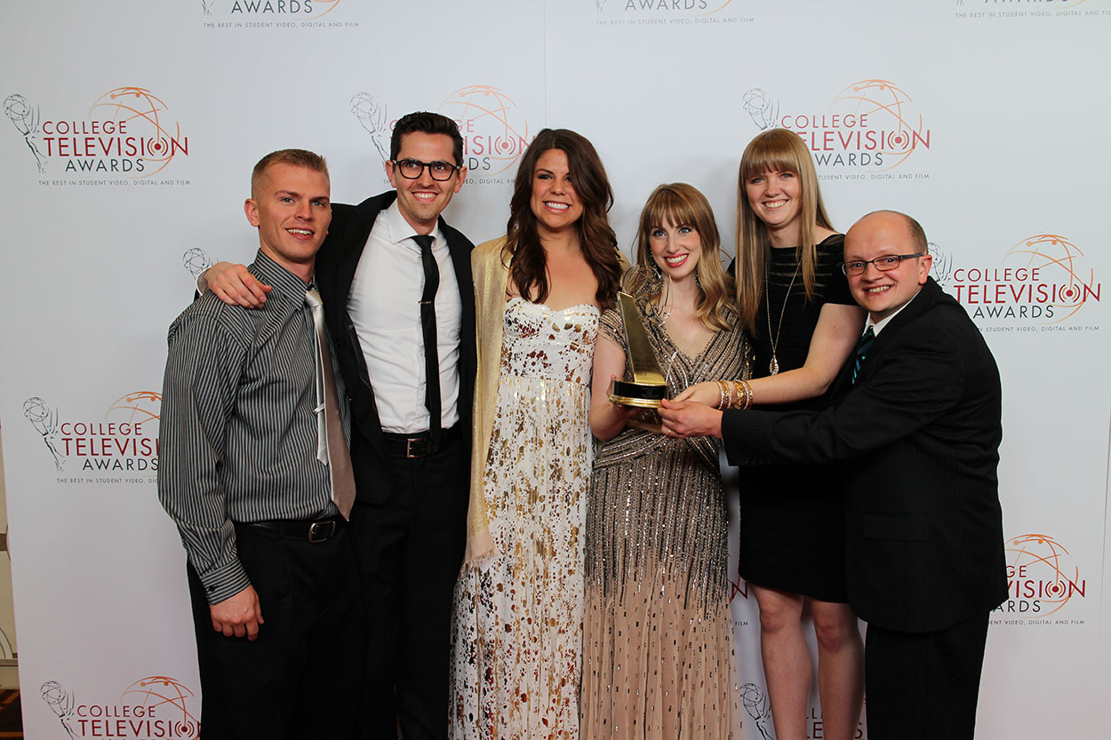 Visual Arts students receive the first place in animation for the short film Estefan at the 34th College Television Awards in 2013. They are one of many examples of excelling in their field in the College of Fine Arts and Communications. (Photo courtesy of the Department of Visual Arts.)