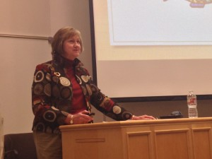 """Susan Howe, keynote speaker for the English Symposium, spoke to BYU students about thinking for themselves and breaking from the traditions in writing in her lecture entitled """"Shaping the Post-Postmodern Moment."""" Photo by Kristina Tieken."""