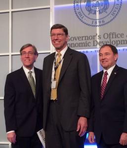 Pictured right to left, A. Scott Anderson, Clayton Christensen, Gov. Gary Herbert.