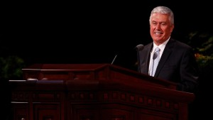 President Dieter F. Uchtdorf speaks at the Sunday morning session of General Conference on April 6, 2014.