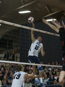 BYU's Taylor Sander winds up for a spike against Stanford. Photo by Natalie Stoker