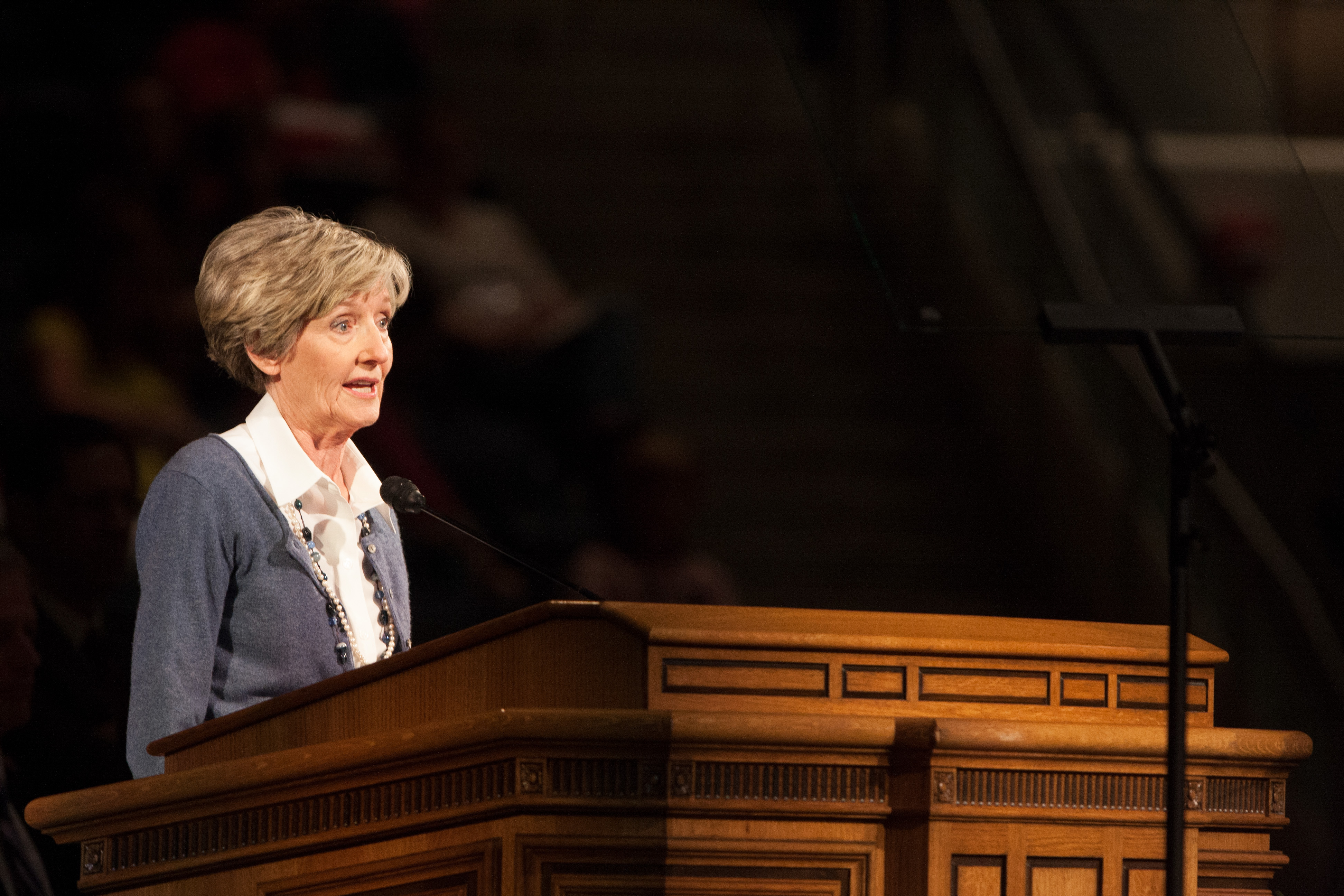 Marie K. Hafen shares the wonderful blessings that come through the atonement of Jesus Christ at the Thursday afternoon, May 1, General Session of the Women's Conference at Brigham Young University. (Photo by Natalie Stoker.)