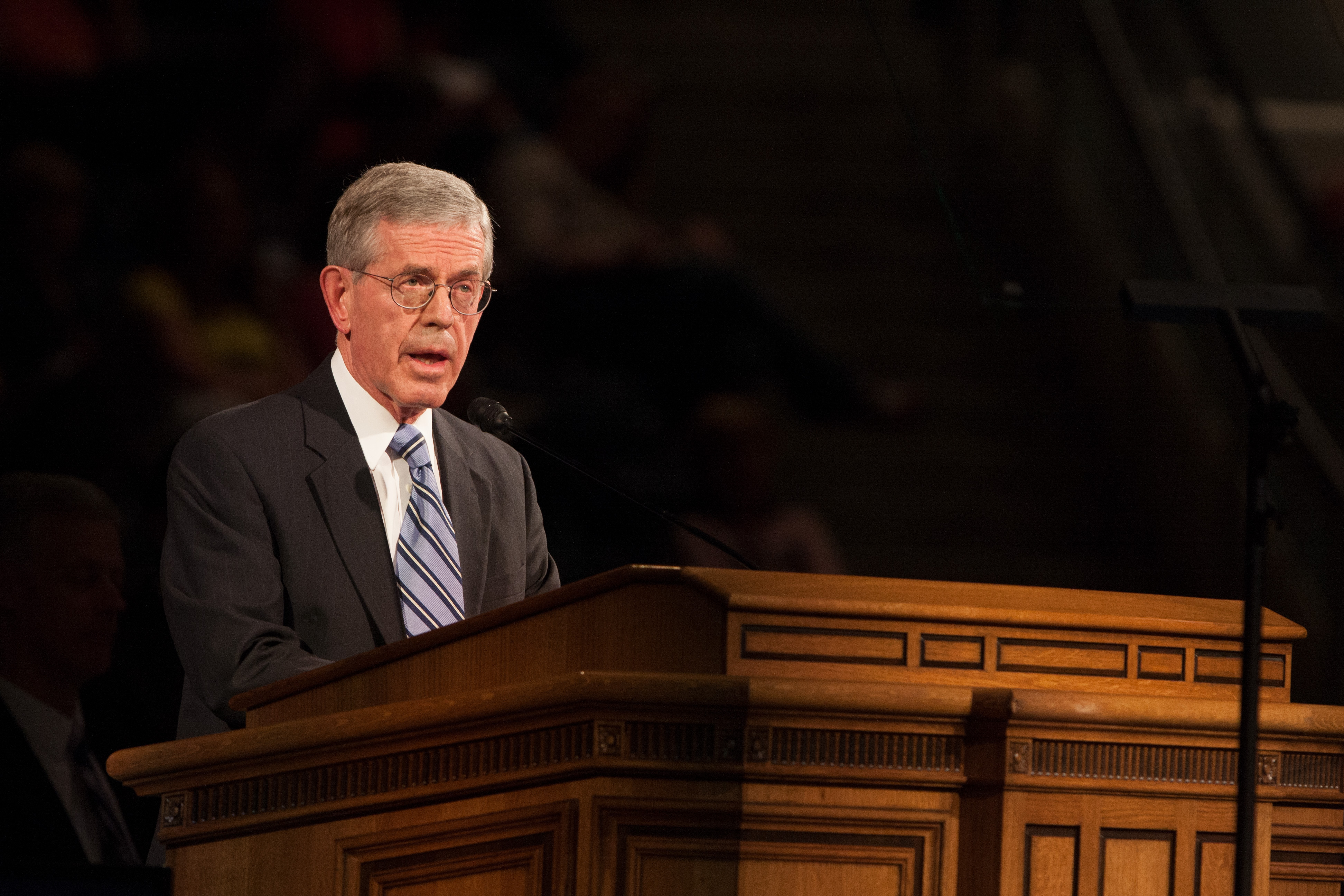 """Elder Bruce C. Hafen shares his message on the """"Redeeming and Strengthening Powers of the Atonement"""" at the Thursday afternoon, May 1, General Session of the Women's Conference at Brigham Young University. (Photo by Natalie Stoker.)"""