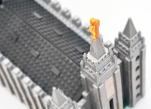 The Angel Moroni sits on top of the Brick 'em Young model of the Salt Lake City Temple. Photo courtesy Suzanna Calton/Brick 'em Young.