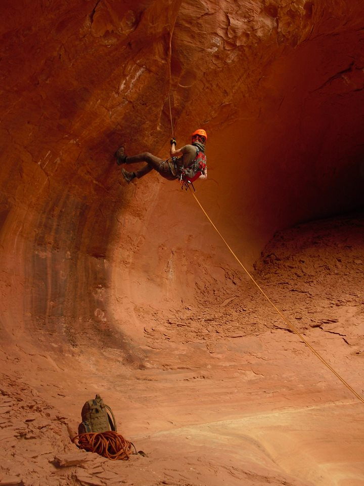 Student Cameron Skidmore on rappel in Morocco Canyon