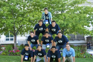 Participants from a session of BYU's 2015 SOAR program form a human pyramid. (Courtesy BYU SOAR Photo)