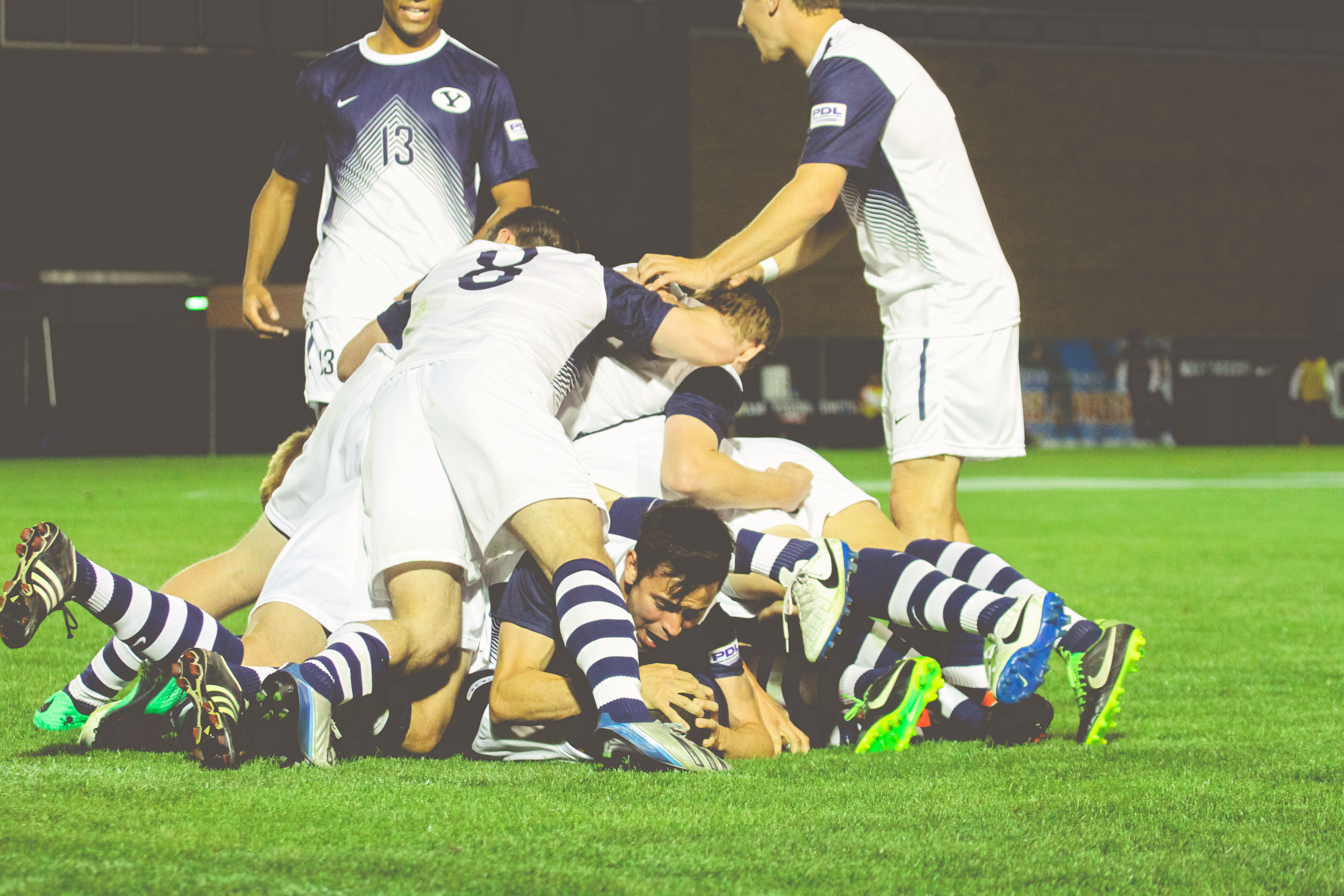 BYU men's soccer players celebrate a victory. They will compete in the PDL tournament for the first time since 2007 on Saturday night in Las Vegas. (