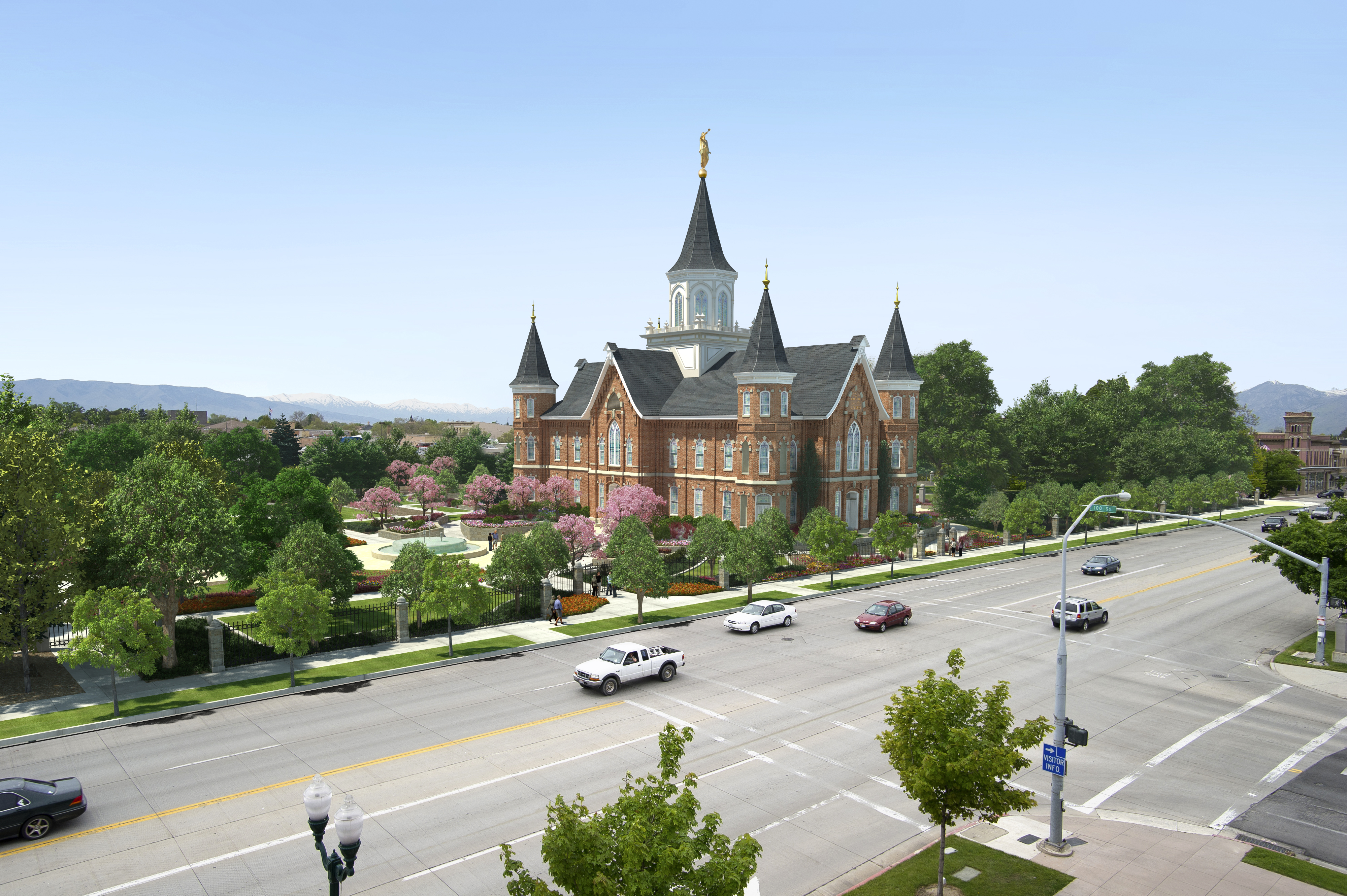 An artist illustrated a rendering of the Provo City Center Temple. The Church of Jesus Christ of Latter-day Saints has more than 140 temples operating worldwide. (LDS Newsroom)