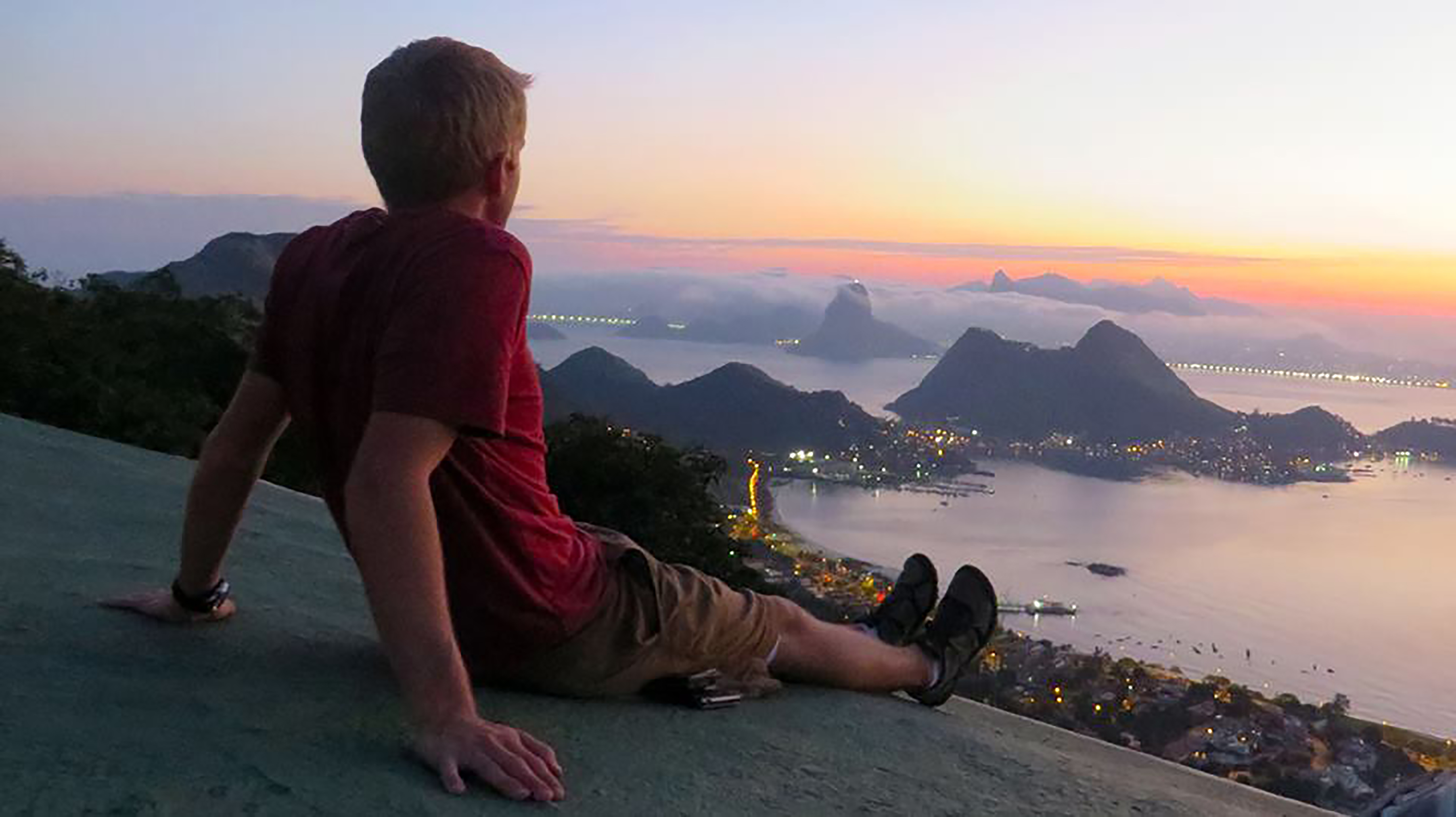 Andy Nelson sits on a hill overlooking Sao Paulo, Brazil. Nelson had the opportunity to visit the country he served in to do research for the University of Sao Paulo. (Andy Nelson)