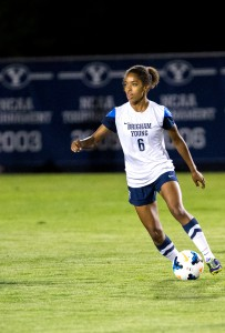 Nadia Gomes looks to pass in a recent BYU game (Bryan Pearson)