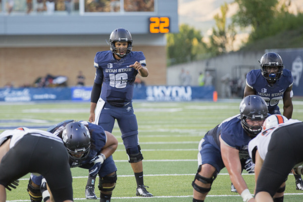 Chuckie Keeton wasn't spectacular but did enough in the Aggies' 40-20 win. (Utah State photo)