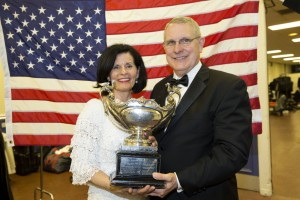 Linda and Lee Wakefield receive the Open Ballroom and Open Latin Formation Championship award at the Blackpool International Dance Competition in May 2014. Wakefield will retire this spring after 35 years at BYU. (Mark Philbrick)