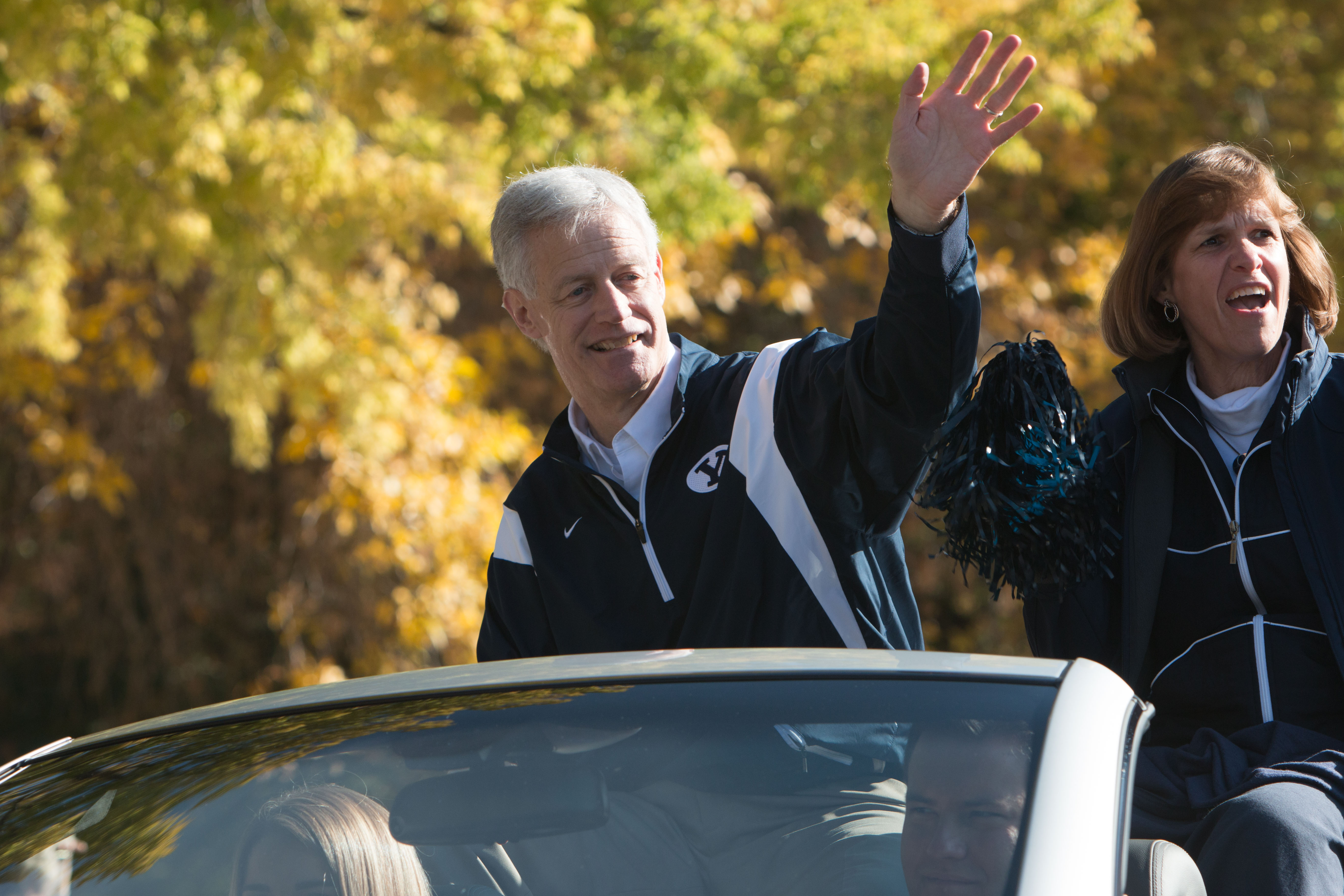 President Worthen leads the BYU homecoming parade down 800 North in Provo.