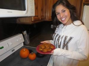 Kara Pittson shows off her favorite pumpkin chocolate chip cookies. (Alex Olpin)
