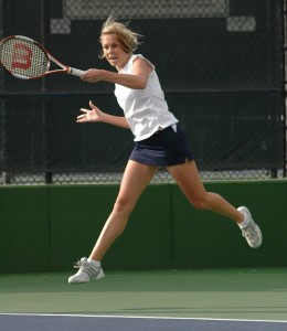 Lauren Jones hits a forehand in a match during the 2006–2007 season, when she was a senior at BYU. (Nicholas Torres)