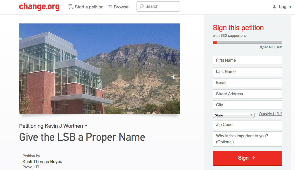Over 600 are in support of naming the new Life Sciences Building after a prominent Mormon woman. The online petition nominates four women and hopes to reach over 9,000 signatures.