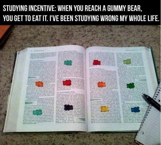 Some students practice the Gummy Bear method while reading, where they will place one gummy bear on each paragraph and reward themselves after reaching a certain point in the reading. Other students prefer to speed skim through pages, especially when assigned large amounts of reading each night.
