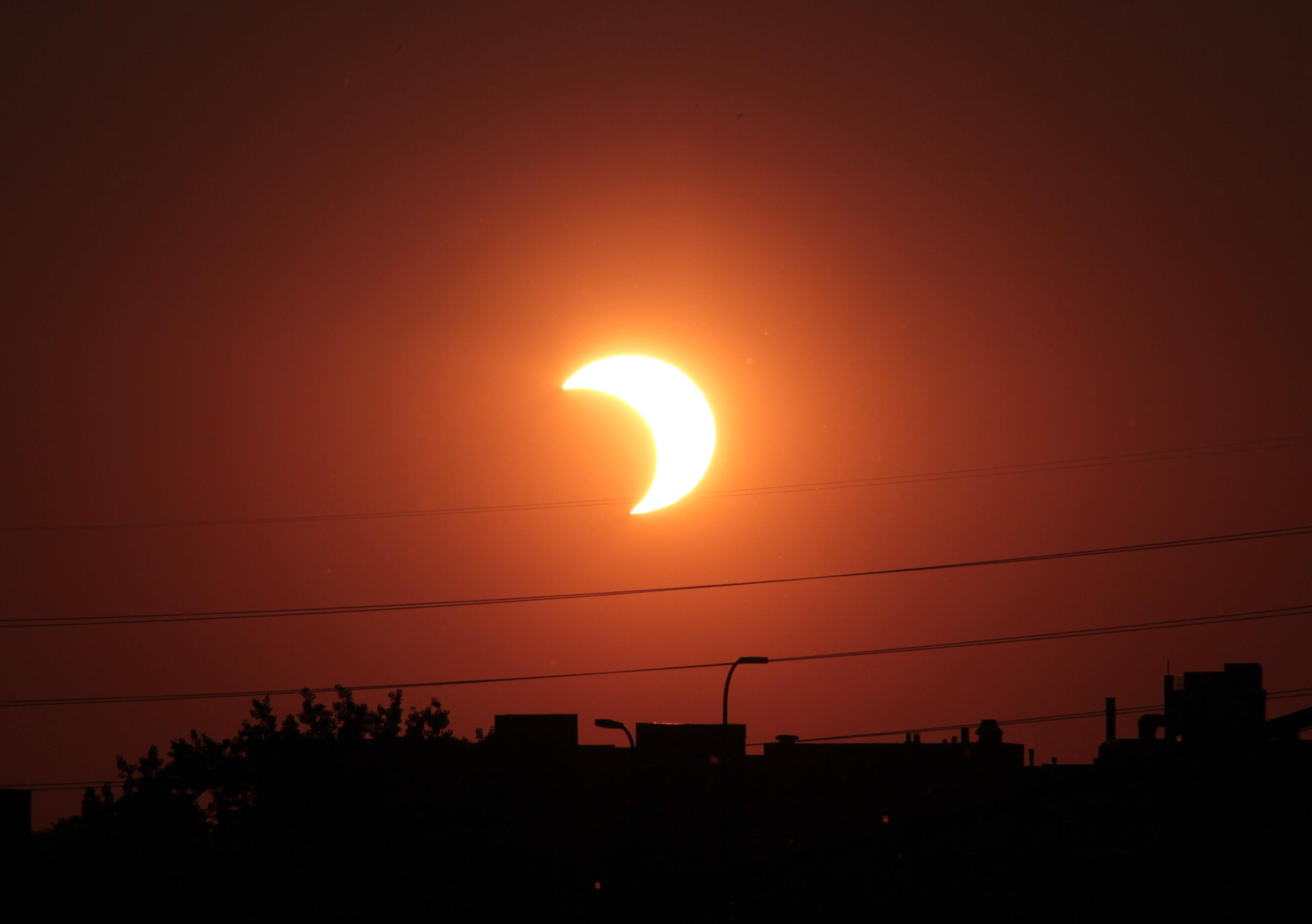 An example of a partial solar eclipse. The eclipse on the 23rd could possibly look like this.