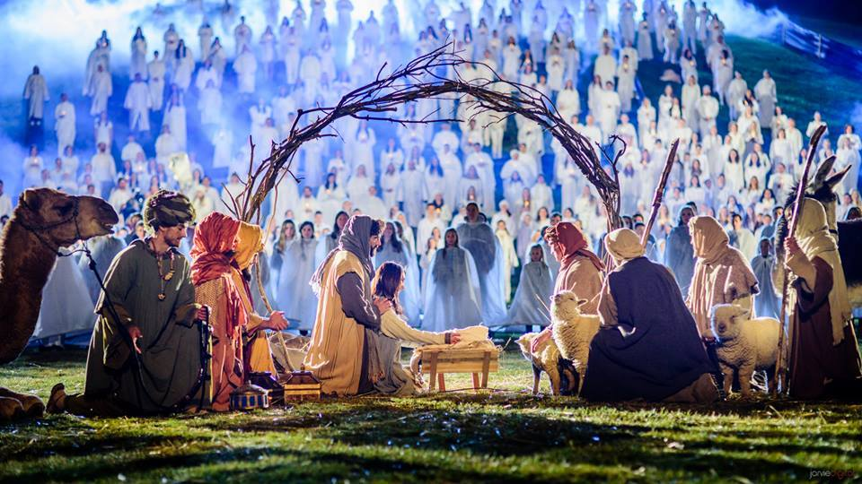 Volunteers, YouTube personalities and musicians gather in Rock Canyon Park in Provo Monday night to break a Guinness World Record for largest live Nativity scene. Footage from the scene will also be used in the Mormon Church's #ShareTheGift campaign. (Live Nativity World Record Facebook page/Scott Jarvie)