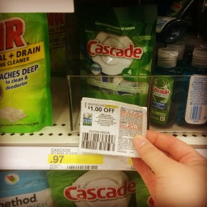 A Cascade manufacture coupon for $1.00 off makes this 97-cent dish detergent free. Extreme couponing isn't as difficult as it may seem. (Annmarie Moore)