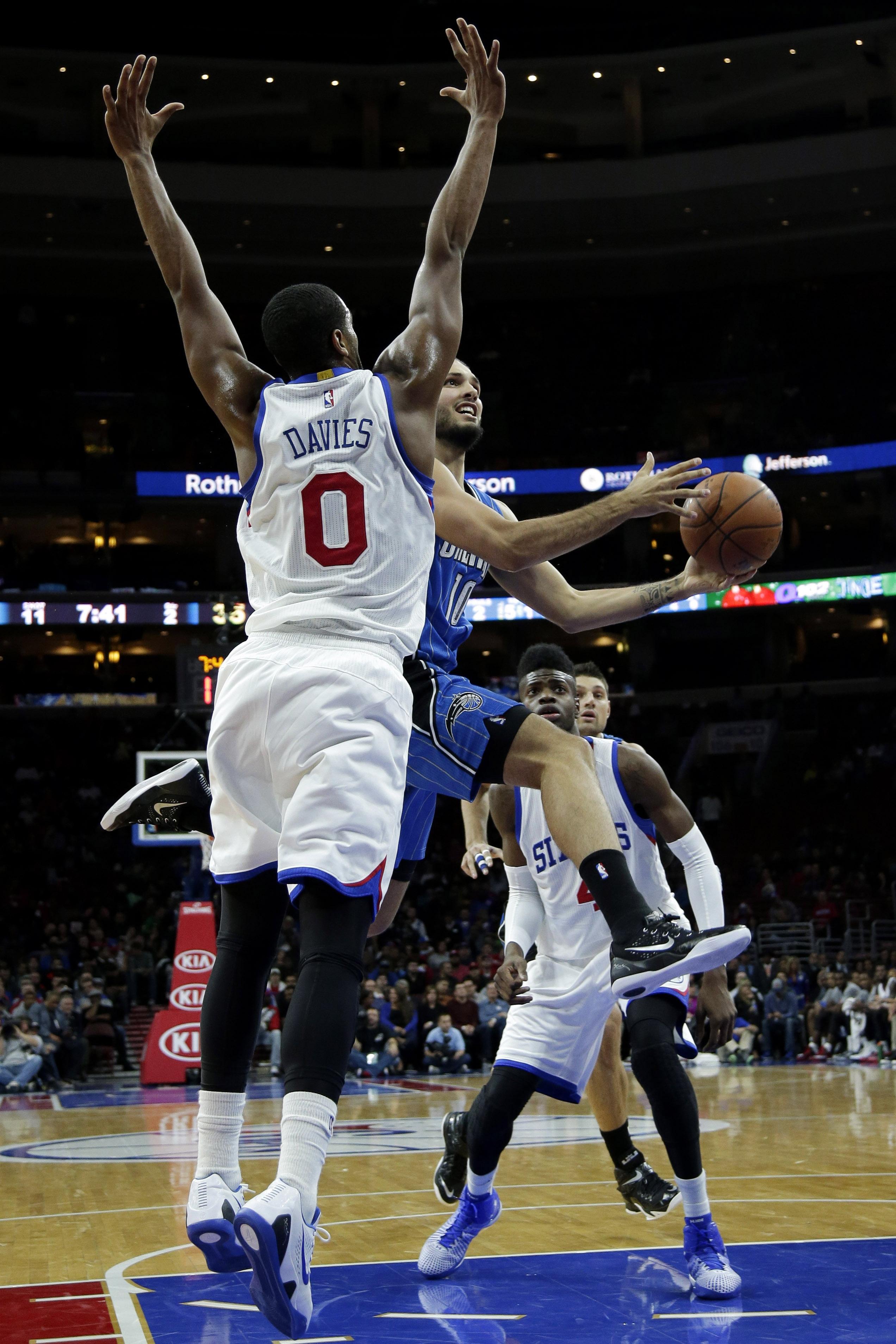 Brandon Davies defends the hoop in a recent Philadelphia 76ers game. (AP Photo/Matt Slocum)