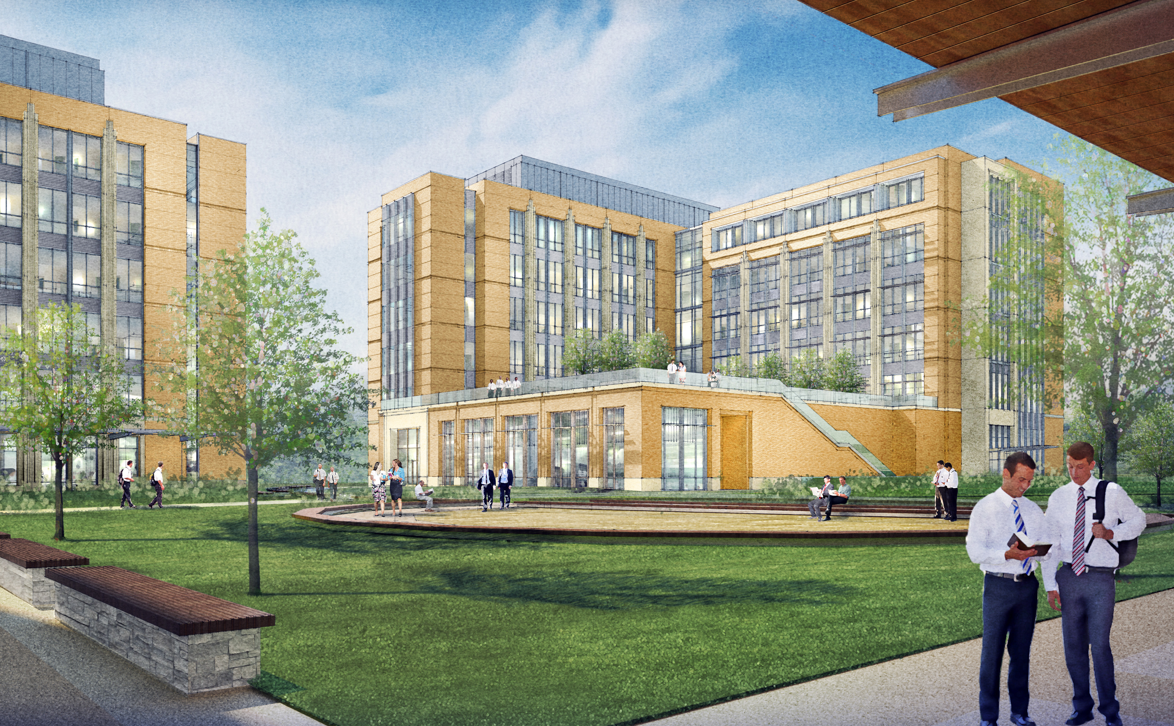 A rendering of the courtyard view of the MTC expansion project. (Mormon Newsroom)