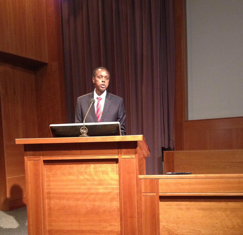 Joseph Sebarenzi, former President of the Parliament of Rwanda speaks to BYU students. He spoke of forgiveness and reconciliation in Rwanda. Photo by Spencer Mecham