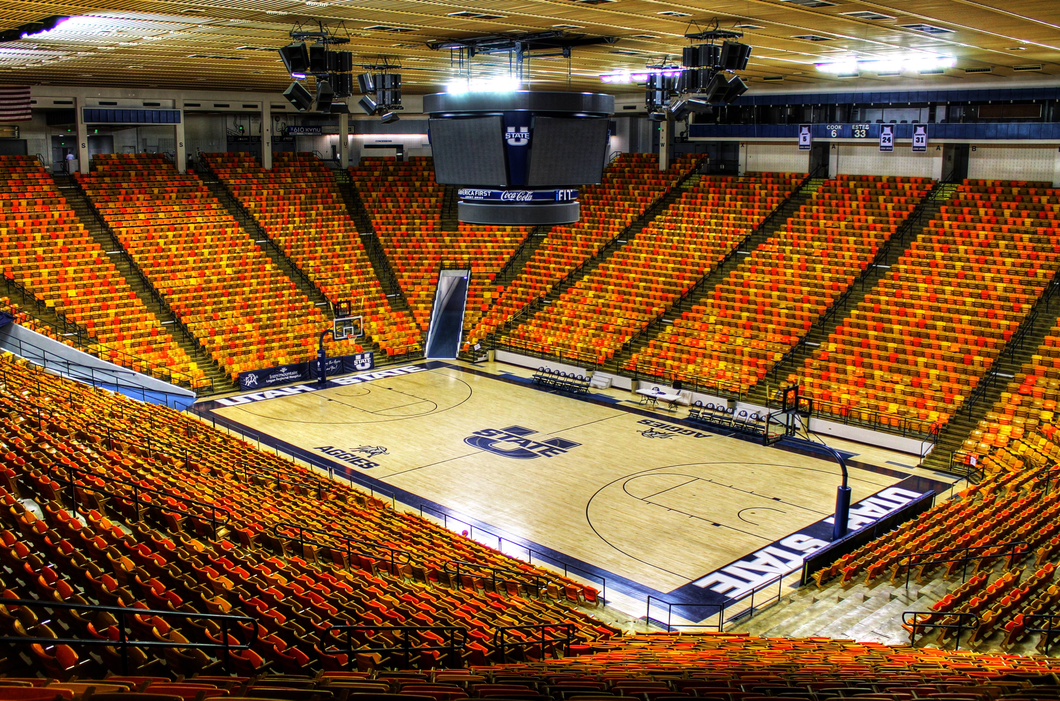 The Spectrum at Utah State. BYU hasn't defeated Utah State here since 2000. (Jason Leslie Wright - Public Domain in Creative Commons http://commons.wikimedia.org/wiki/File:Interior_of_the_Dee_Glen_Smith_Spectrum_in_2013.jpg)