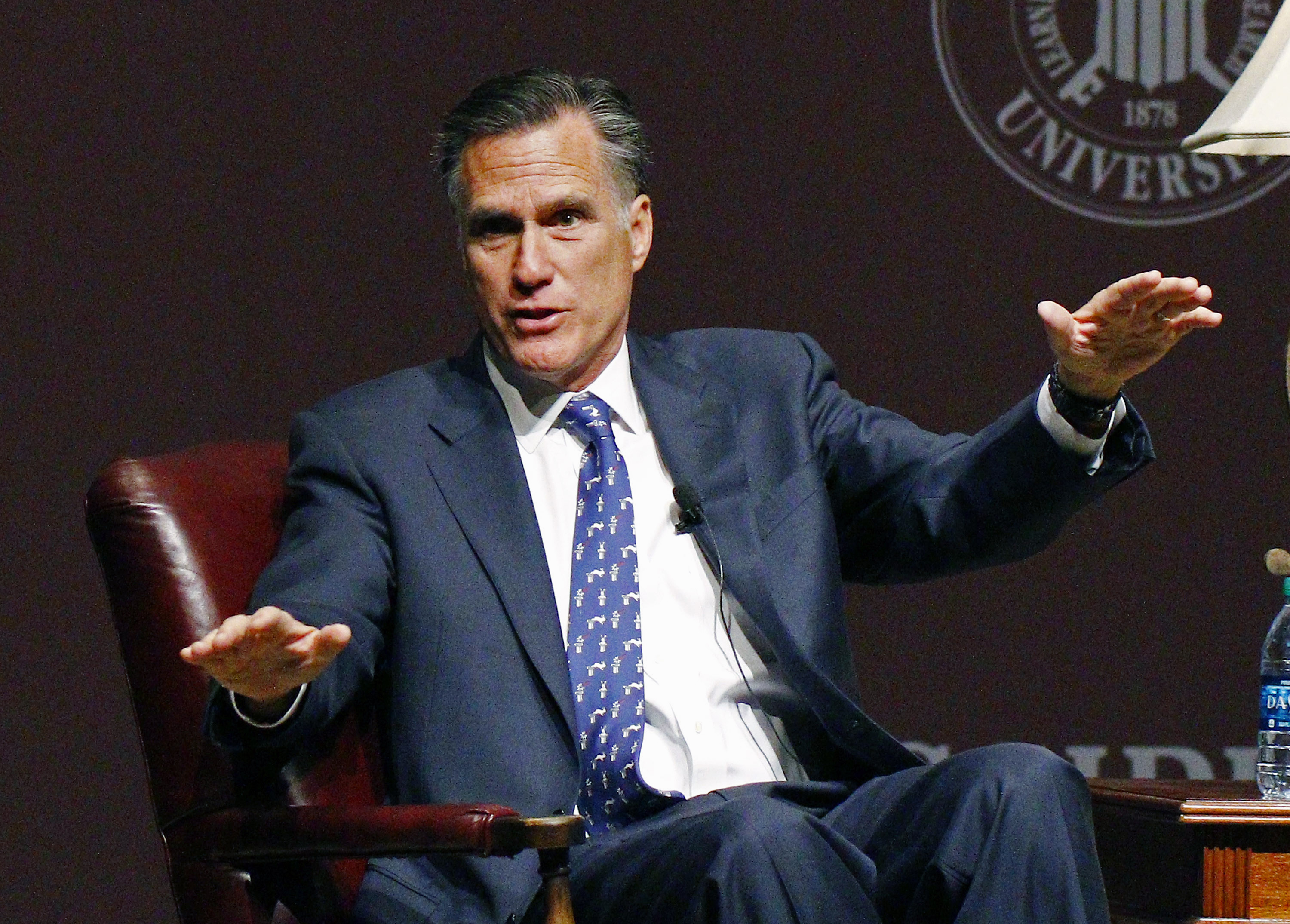 In this Jan. 28, 2015 file photo, former GOP presidential candidate Mitt Romney speaks at Mississippi State University in Starkville, Miss. (AP Photo/Rogelio V. Solis)