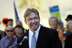 Mitch Mayne speaks at a press conference on LGBT issues in front of Grace Cathedral in San Francisco. (San Francisco Chronicle)