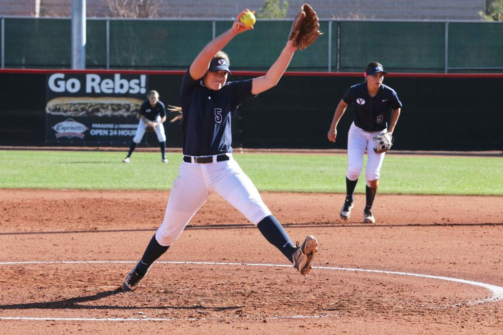 McKenna Bull winds up to pitch for the Cougars. Her 20 strikeouts this weekend helped earn her the title of WCC Pitcher of the Week. (byucougars.com)