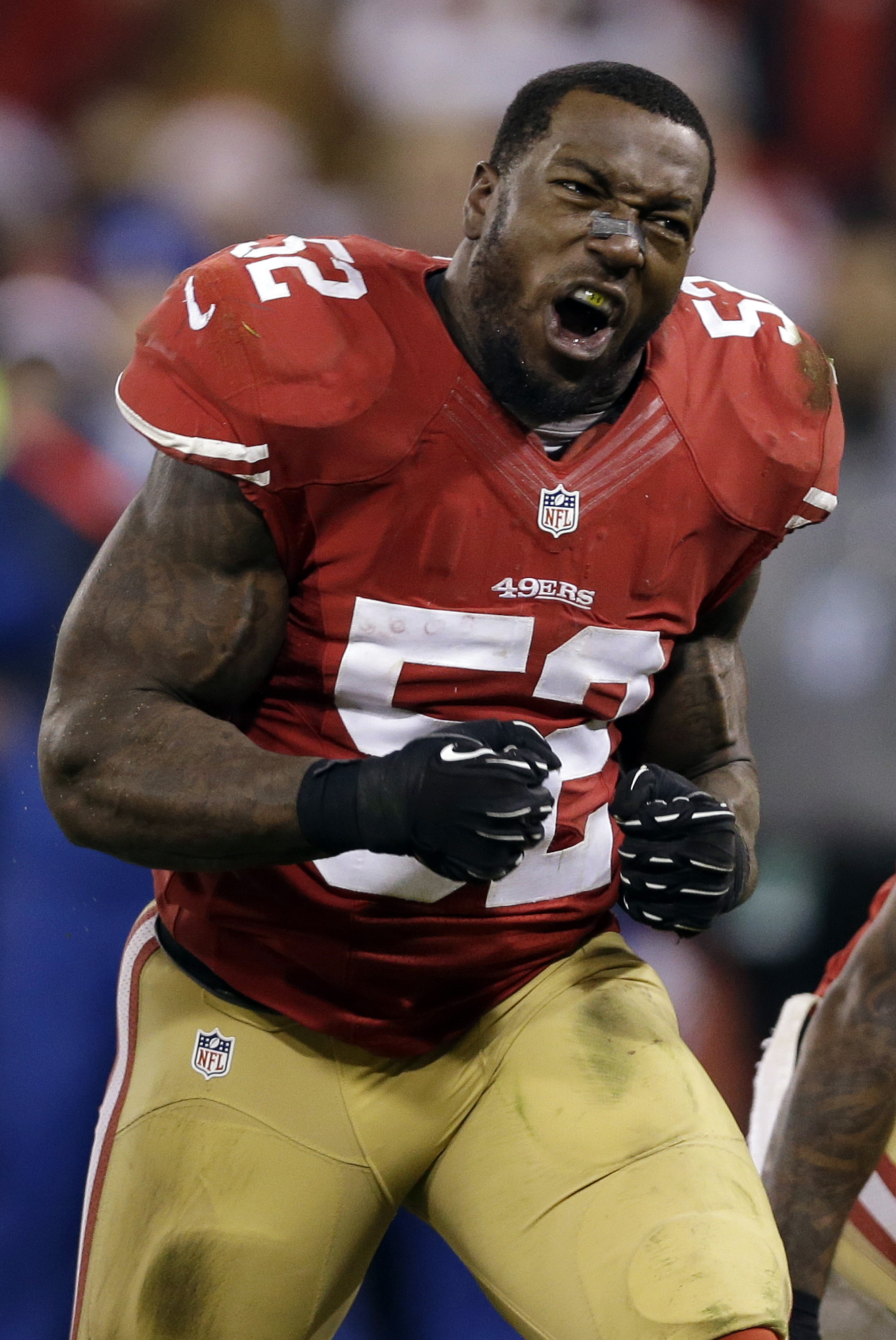 FILE - In tis Dec. 23, 2013, file photo, San Francisco 49ers Patrick Willis celebrates after teammate NaVorro Bowman made an 89-yard touchdown in the fourth quarter of an NFL football game against the Atlanta Falcons in San Francisco. illis, a seven-time Pro Bowler, will retire after his 2014 season was cut short by a toe injury that required surgery, the 49ers announced, Tuesday, March 10, 2015. (AP Photo/Marcio Jose Sanchez, File)