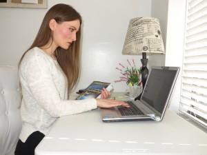 "Author Katarina Jambrešić edits ""A Global Testimony"" in her New York apartment. Jambrešić wrote the book to share global religious experiences with the LDS faith. (Katarina Jambrešić)"