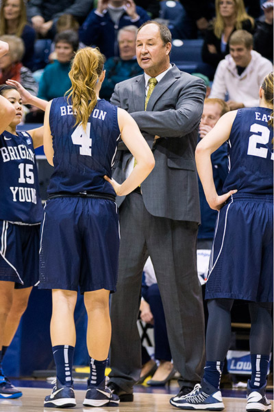 BYU head coach Jeff Judkins talks with his players. (BYU Photo)