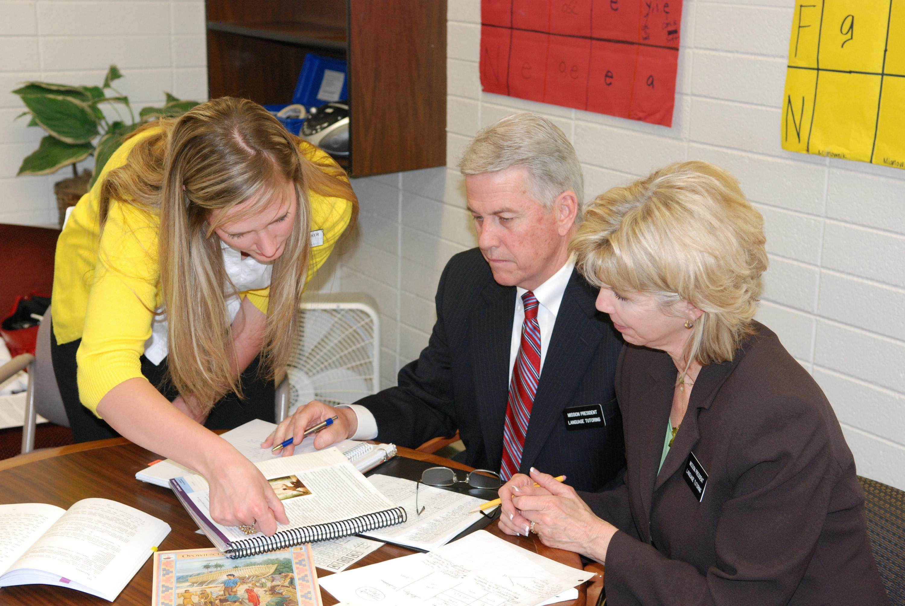 Stan and Judi Nielson study Polish language at the Missionary Training Center in Provo, Utah. (Mormon Newsroom)