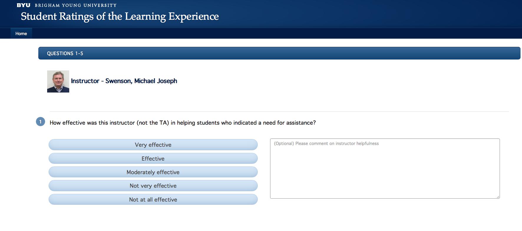 Screenshot of BYU's new student surveys.