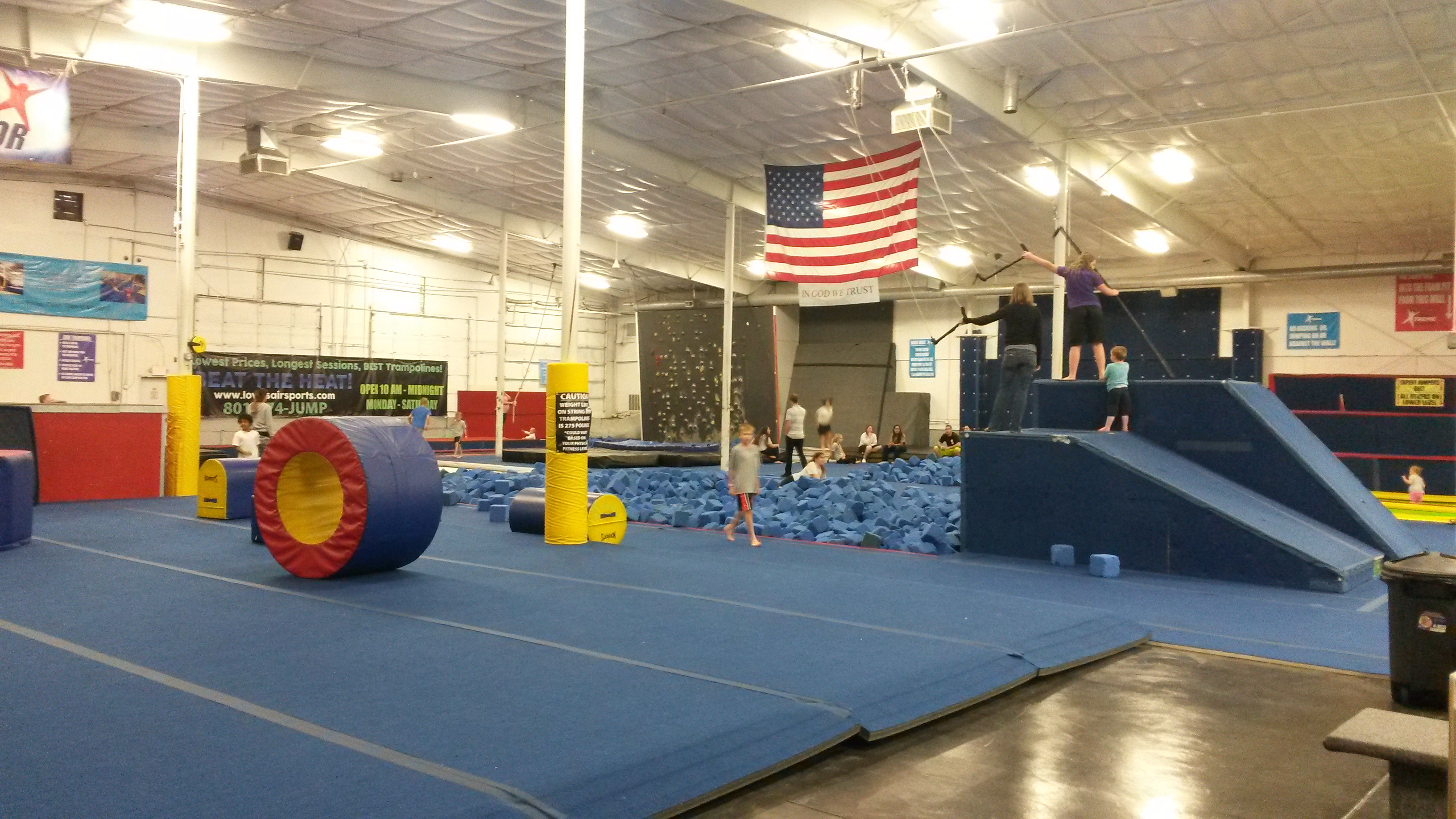Guests enjoy the foam pit at Lowes Xtreme Air Sports.