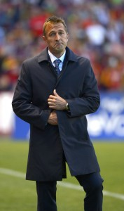 New York City FC coach Jason Kreis reacts to play during RSL's last match up with NYCFC. Kreis played for RSL in 2005 to 2007. (AP Photo)