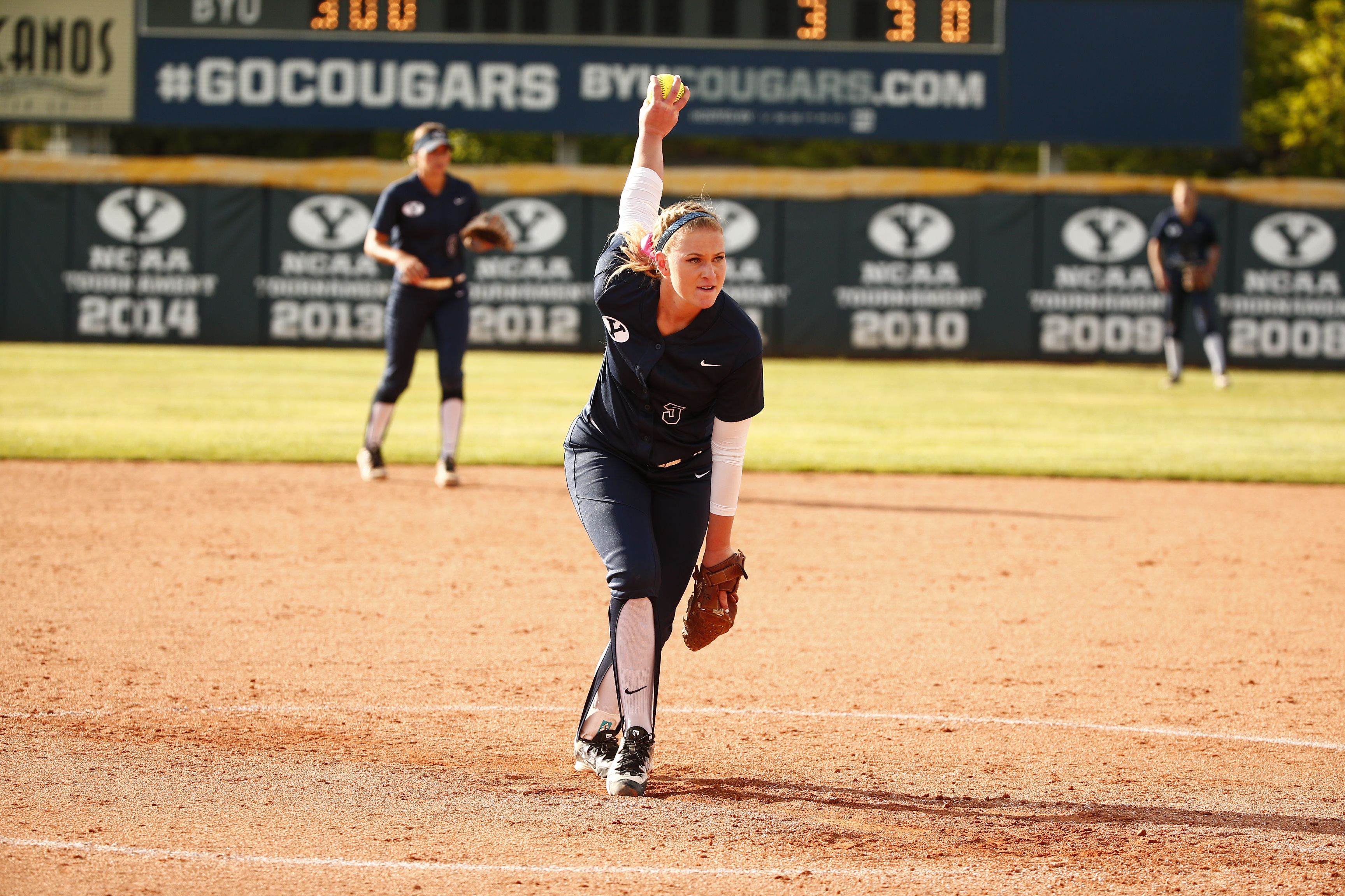 McKenna Bull pitches against UVU earlier in the season.  BYU was eliminated from Regionals Friday night. (Jaren Wilkey)