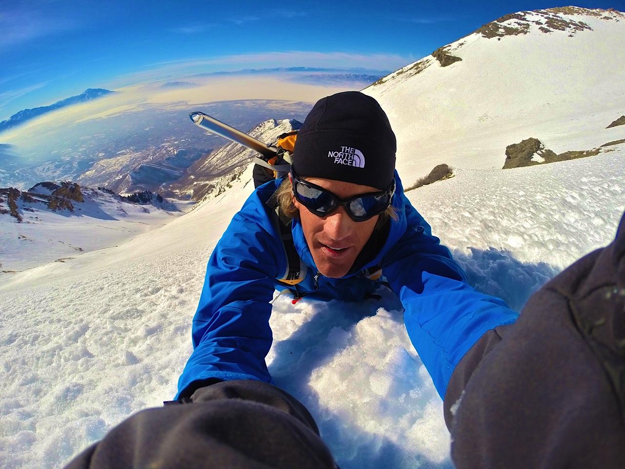Matt Galland takes epic selfie at 11,000 feet. Galland is a BYU Adjunct professor that stars in his own series on Animal Planet.  (Matt Galland)