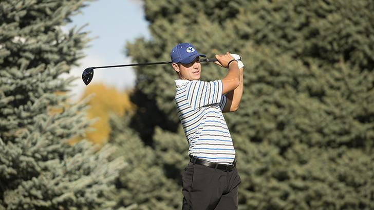 Jordan Rodgers watches his drive during a tournament earlier this year. Rogers competed in the NCAA Regional Tournament. (byucougars.com)