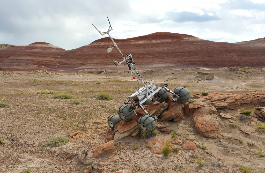 The BYU Rover overcomes rocky terrain on a patch of desert outside Hanksville, Utah. The Rover took over 2500 man hours to complete. (BYU)