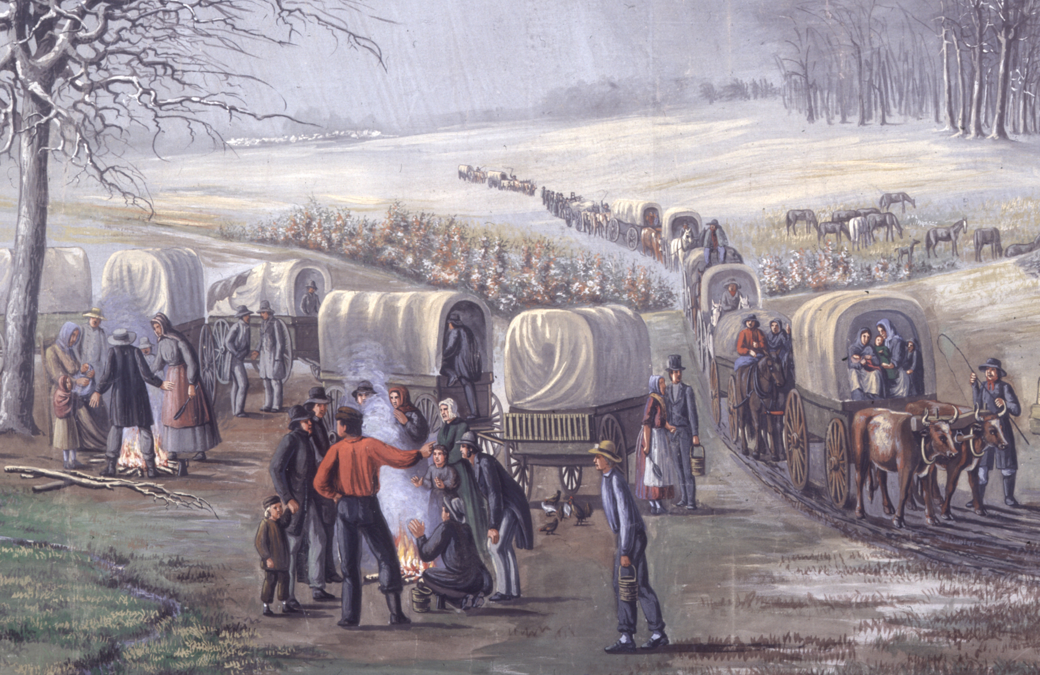 C. C. A. Christensen's Leaving Missouri is on display at the Museum of Art. C.C.A. Christensen's Moving Pictures panorama is now on display at the Museum of Art. The exhibit consists of 22 paintings depicting early Church history events. (C.C.A. Christensen)